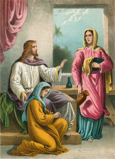 Martha and Mary.  Illustration for unidentified 19th century Bible.