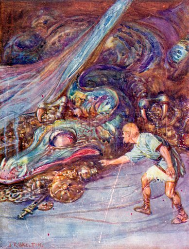 The slave crept nearer and nearer to the glittering mass. Illustration for Beowulf Told to Children (Jack, c 1905).
