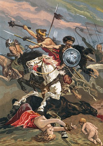 Invasion of the Barbarians into Spain. Illustration for Glorias Espanola by Carlos Mendoza (Ramon Molinas, c 1880).