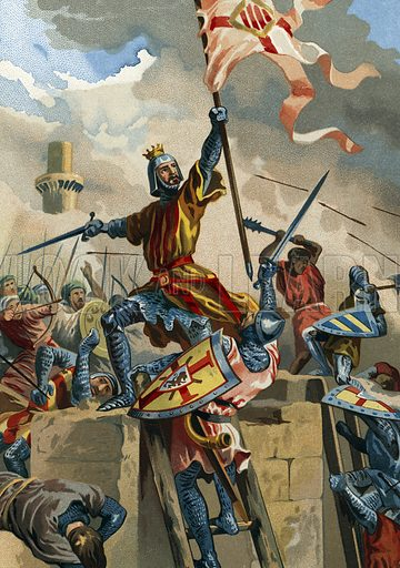 Ramon Berenguer IV, count of Barcelona, capturing Tortosa from the Muslims in 1148.  Illustration for Glorias Espanola by Carlos Mendoza (Ramon Molinas, c 1880).