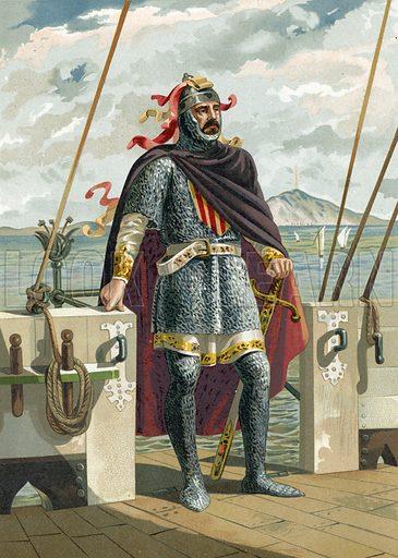 Roger of Lauria, Loria or de Lluria. Illustration for Glorias Espanola by Carlos Mendoza (Ramon Molinas, c 1880).
