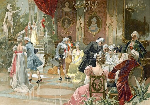 The court of king Louis XV of France. Illustration for Historia de Europa by Emilio Castelar (1895). Large chromolithograph. Note: Tissue paper stuck to some parts of the picture.