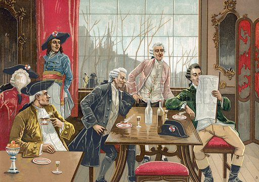 Cafe in Paris during the time of the French Revolution. Illustration for Historia de Europa by Emilio Castelar (1895). Large chromolithograph.
