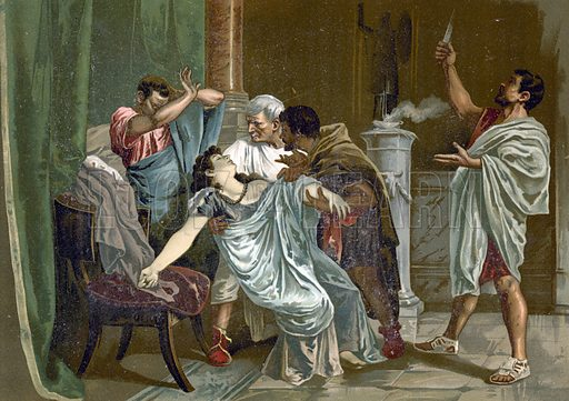 Death of Lucretia. Illustration for Historia de Europa by Emilio Castelar (1895). Large chromolithograph. Note: Tissue paper stuck to some parts of the picture.