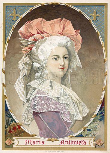 Marie Antoinette. Illustration for Historia de Europa by Emilio Castelar (1895). Large chromolithograph.