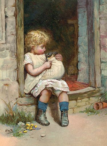 Poor little doggie. Illustration for Nister's Holiday Annual 1894.