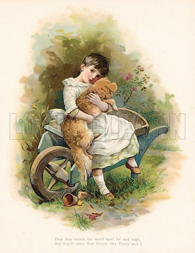 Girl with her dog. Illustration for Nister's Holiday Annual 1894.