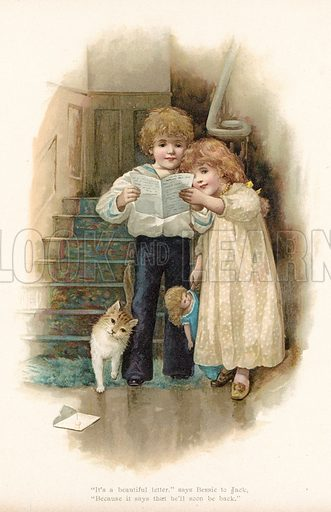 Letter from father. Illustration for Nister's Holiday Annual 1894.