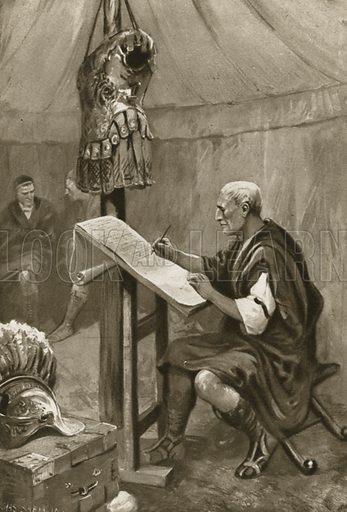 Julius Caear writing home a letter to Rome from his tent in Kent. Illustration for Little Treasure Island by Arthur Mee (Hodder and Stoughton, c 1920).