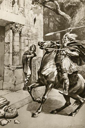 High Priest Coifi riding up Goodmanham Lane to smash the idols. Illustration for Little Treasure Island by Arthur Mee (Hodder and Stoughton, c 1920).