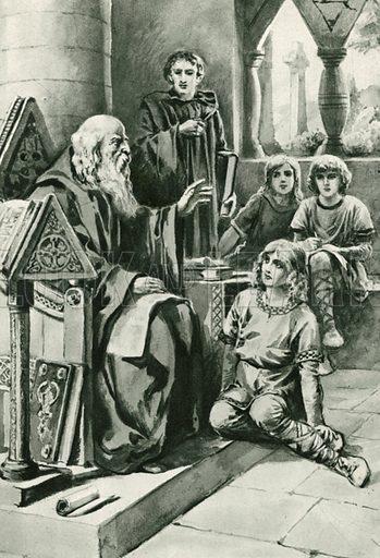 The Venerable Bede teaching. Illustration for Little Treasure Island by Arthur Mee (Hodder and Stoughton, c 1920).