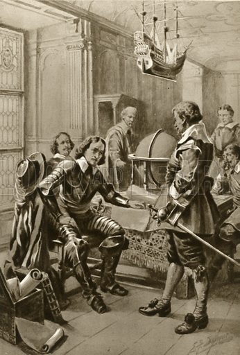 Robert Blake calls on Oliver Cromwell in the Council Room in Whitehall. Illustration for Little Treasure Island by Arthur Mee (Hodder and Stoughton, c 1920).