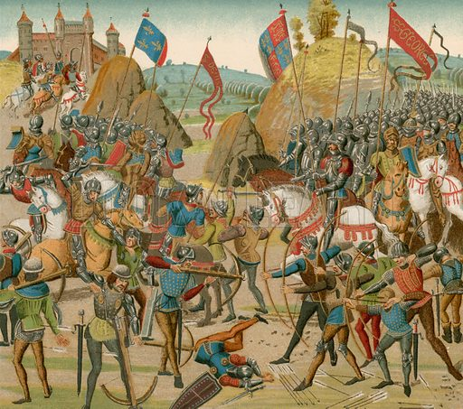 The battle of Crecy. From Bibliotheque Nationale MS Fr No 2643. Illustration for Les Chroniqueurs de l'histoire de France by Madame de Witt (Hachette, 1884).
