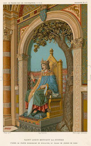 Saint Louis dispensing justice. Illustration for Les Chroniqueurs de l'histoire de France by Madame de Witt (Hachette, 1884).