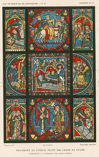 Fragment of stained glass painted by the order of Suger. Illustration for Les Chroniqueurs de l'histoire de France by Madame de Witt (Hachette, 1884).
