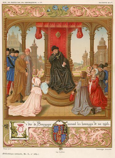 The Duke of Burgundy receiving homage from his subjects. Illustration for Les Chroniqueurs de l'histoire de France by Madame de Witt (Hachette, 1884).