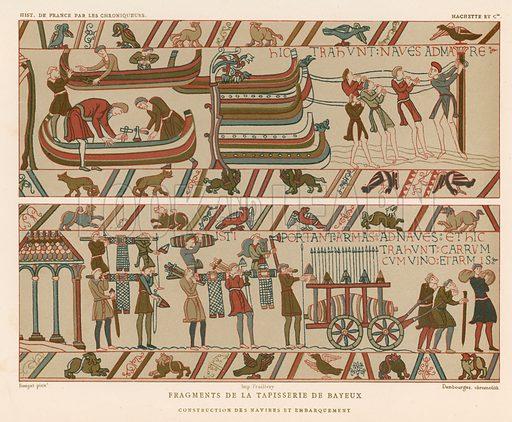 Bayeux Tapestry. Illustration for Les Chroniqueurs de l'histoire de France by Madame de Witt (Hachette, 1884).
