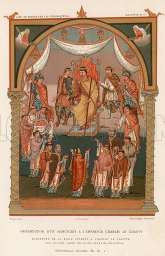 Presentation of a manuscipt to the Emperor Charles the Bald. Illustration for Les Chroniqueurs de l'histoire de France by Madame de Witt (Hachette, 1884).