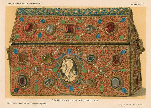 Merovingian casket. Illustration for Les Chroniqueurs de l'histoire de France by Madame de Witt (Hachette, 1884).