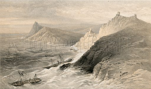 The Gale off the Port of Balaklava, 14 November 1854.  Illustration for The Campaign in the Crimea by George Brackenbury (Colnaghi, 1855).