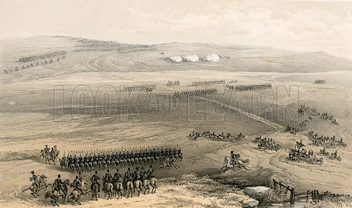 The cavalry affair of the heights of Bulganak – the first gun, 19 September 1854. Illustration for The Campaign in the Crimea by George Brackenbury (Colnaghi, 1855).