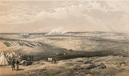 Distant view of Lord Raglan's Head Quarters before Sebastopol. Illustration for The Campaign in the Crimea by George Brackenbury (Colnaghi, 1855).