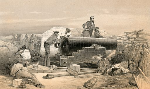 A quiet day in the Diamond Battery, Portrait of a Lancaster 68 Pounder, 15 December 1854. Illustration for The Campaign in the Crimea by George Brackenbury (Colnaghi, 1855).