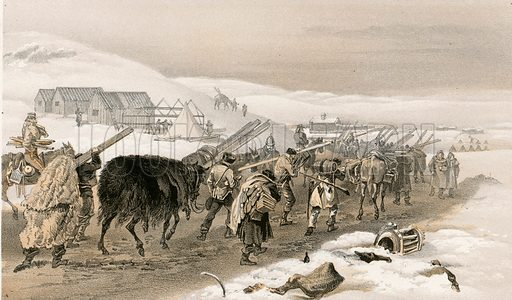 Huts and war clothing for the army. Illustration for The Campaign in the Crimea by George Brackenbury (Colnaghi, 1855).