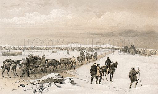 The camp of the 1st Division, looking north towards the camp of the 2nd Division, the Heights of Inkermann in the distance. Illustration for The Campaign in the Crimea by George Brackenbury (Colnaghi, 1855).