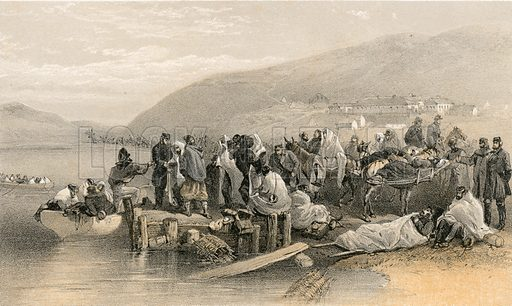 Embarkation of the sick at Balaklava. Illustration for The Campaign in the Crimea by George Brackenbury (Colnaghi, 1855).