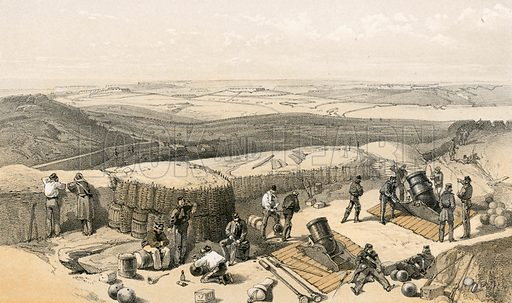 The new works at the siege of Sebastopol on the right attack, from the Mortar Battery on the right of Gordon's Battery. Illustration for The Campaign in the Crimea by George Brackenbury (Colnaghi, 1855).