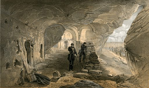 Excavated church in the caverns at Inkermann, looking west. Illustration for The Campaign in the Crimea by George Brackenbury (Colnaghi, 1855).