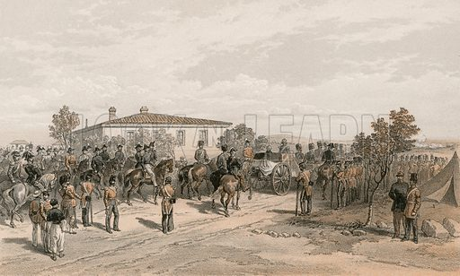 The funeral cortege of Lord Raglan leaving Head Quarters. Illustration for The Campaign in the Crimea by George Brackenbury (Colnaghi, 1856).