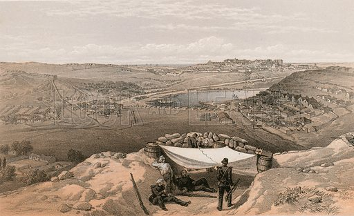 The town batteries or interior fortifications of Sebastopol, 23 June 1855. Illustration for The Campaign in the Crimea by George Brackenbury (Colnaghi, 1856).