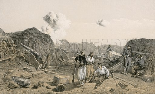 Sketch in the interior of the Mamelon Vert, looking south. Illustration for The Campaign in the Crimea by George Brackenbury (Colnaghi, 1856).