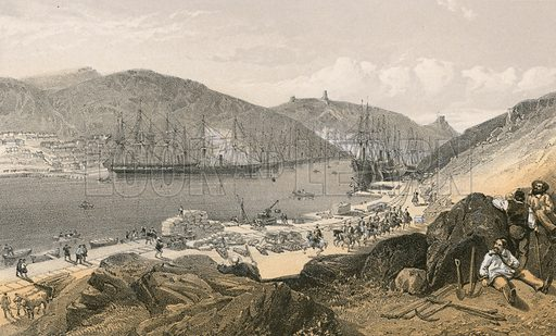 Balaklava showing the state of the quays and the shipping, in May 1855. Illustration for The Campaign in the Crimea by George Brackenbury (Colnaghi, 1856).