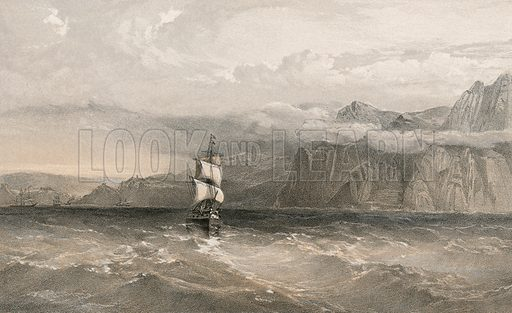 Cape Aiya, looking north towards Balaklava. Illustration for The Campaign in the Crimea by George Brackenbury (Colnaghi, 1856).