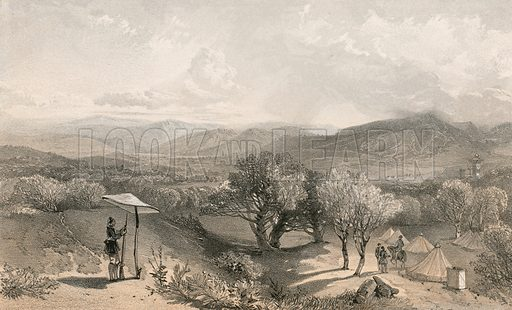 The valley of Baidar, from rear Petroski's villa, looking east. Illustration for The Campaign in the Crimea by George Brackenbury (Colnaghi, 1856).