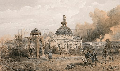 Church in the rear of the Redan, looking north, showing the effects of shot and shell. Illustration for The Campaign in the Crimea by George Brackenbury (Colnaghi, 1856).