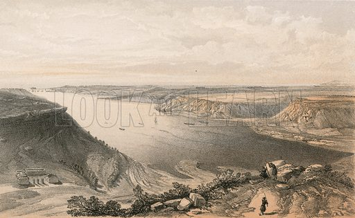 The north side of the harbour of Sebastopol from the top of the harbour, 22 June 1855. Illustration for The Campaign in the Crimea by George Brackenbury (Colnaghi, 1856).