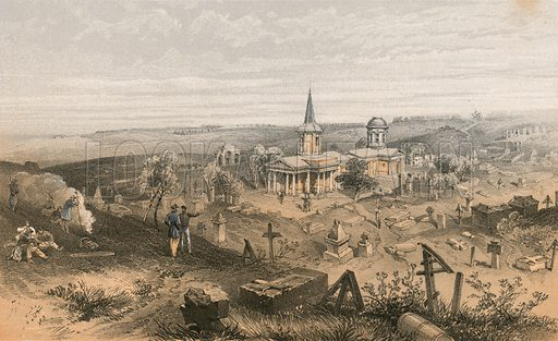 Quarantine cemetry and church with French battery No 50. Illustration for The Campaign in the Crimea by George Brackenbury (Colnaghi, 1856).