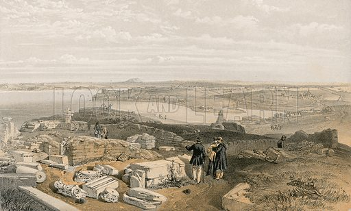 Sebastopol from old Chersonese and ancient church of St Vladimir. Illustration for The Campaign in the Crimea by George Brackenbury (Colnaghi, 1856).
