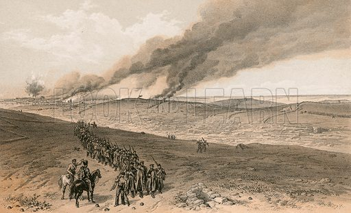 Redan and advanced trenches of British right attack. Illustration for The Campaign in the Crimea by George Brackenbury (Colnaghi, 1856).