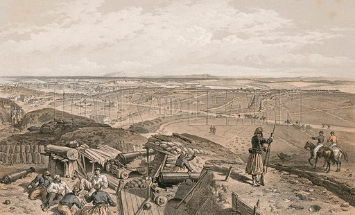 Bastion du Mat from the Central Bastion. Illustration for The Campaign in the Crimea by George Brackenbury (Colnaghi, 1856).