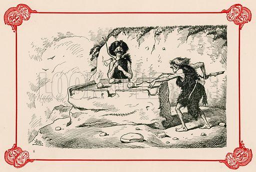 Primeval billiards. Illustration for Prehistoric Peeps from Punch (Bradbury, Agnew, c 1900).