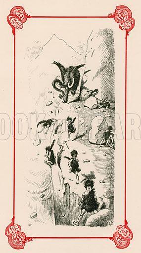An Unsociable Mammoth. Illustration for Prehistoric Peeps from Punch (Bradbury, Agnew, c 1900).
