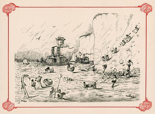 The Fleet at Exercise. Illustration for Prehistoric Peeps from Punch (Bradbury, Agnew, c 1900).