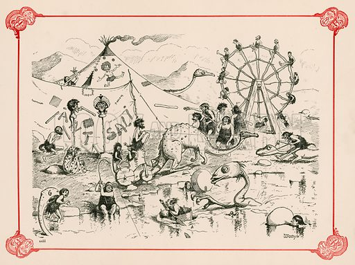 Bank Holiday of the Period. Illustration for Prehistoric Peeps from Punch (Bradbury, Agnew, c 1900).
