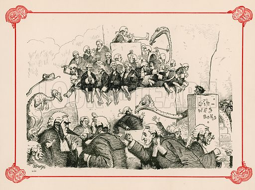 Amenities of the Law. Illustration for Prehistoric Peeps from Punch (Bradbury, Agnew, c 1900).