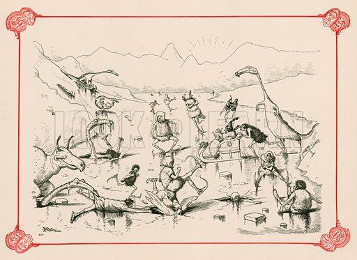 The Skating Season. Illustration for Prehistoric Peeps from Punch (Bradbury, Agnew, c 1900).